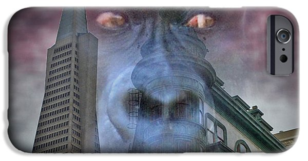 Francis Ford Coppola iPhone Cases - Look Out San Francisco King Kong is coming  iPhone Case by Jim Fitzpatrick