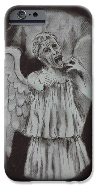 Weeping Drawings iPhone Cases - Looked Away iPhone Case by Nina Shilling