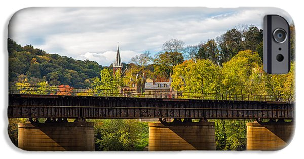 Village iPhone Cases - Looking Across the Potomac to Harpers Ferry iPhone Case by John Bailey