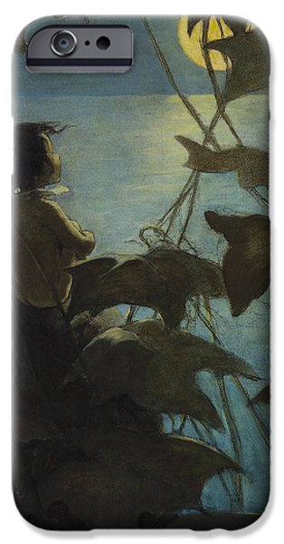 Ocean Drawings iPhone Cases - Looking at the moon circa 1916 iPhone Case by Aged Pixel