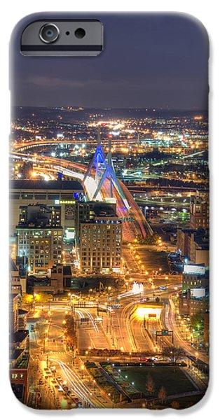 City. Boston iPhone Cases - Looking Down -  Boston Skyline Aerial iPhone Case by Joann Vitali