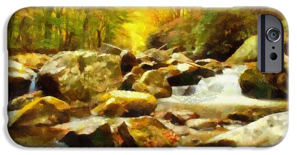 Rivers In The Fall iPhone Cases - Looking Down Little River In Autumn iPhone Case by Dan Sproul