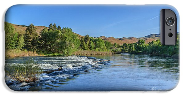Flooding iPhone Cases - Looking Down The Payette River iPhone Case by Robert Bales