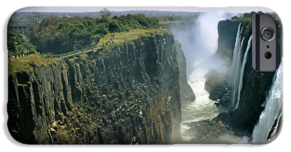 Power iPhone Cases - Looking Down The Victoria Falls Gorge iPhone Case by Panoramic Images