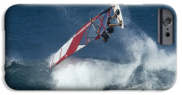 Windsurfer iPhone Cases - Windsurfing Hawaii Looking For Air iPhone Case by Bob Christopher