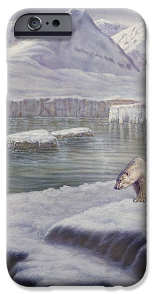 Alaska Mixed Media iPhone Cases - Looking for Salmon iPhone Case by Gregory Perillo
