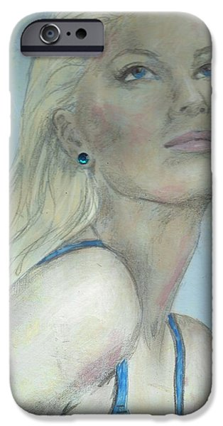 Mixed Media Drawings iPhone Cases - Looking Forward iPhone Case by P J Lewis