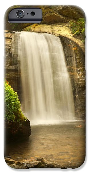 Looking Digital Art iPhone Cases - Looking Glass Falls 2 - North Carolina iPhone Case by Mike McGlothlen