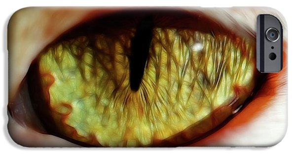 Dog Close-up Digital Art iPhone Cases - Looking into the Soul iPhone Case by Mariola Bitner