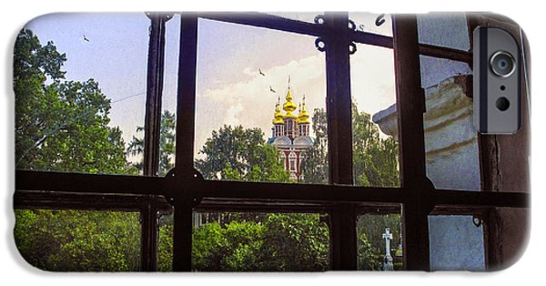 Russian Cross iPhone Cases - Looking Out - Novodevichy Convent - Russia iPhone Case by Madeline Ellis