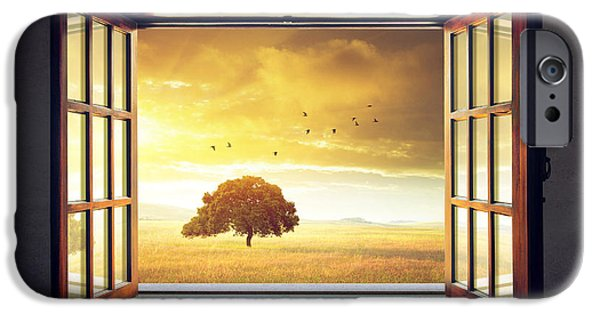 Garden Scene Digital iPhone Cases - Looking out the Window iPhone Case by Carlos Caetano