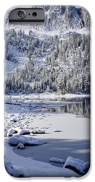 Snow Scene iPhone Cases - Looking Over Mcleod iPhone Case by Chris Brannen