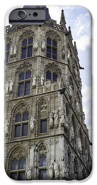 Dining Hall iPhone Cases - Looking Up at City Hall Cologne Germany iPhone Case by Teresa Mucha