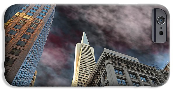 Old Cars iPhone Cases - Looking up at the Transamerica Pyramid Altered Version II iPhone Case by Jim Fitzpatrick