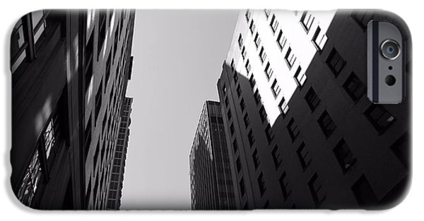 Buildings In Nashville iPhone Cases - Looking Up In Nashville Black And White iPhone Case by Dan Sproul