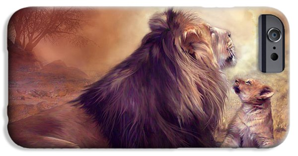 Lion Art iPhone Cases - Looking Upward iPhone Case by Carol Cavalaris