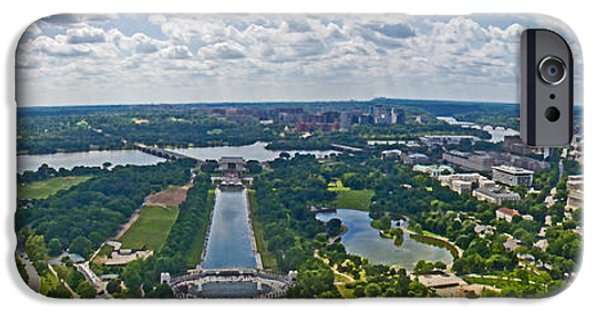 D.c. iPhone Cases - Looking west from the Washington Monument iPhone Case by Tom Gari Gallery-Three-Photography