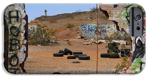 Ruins iPhone Cases - Lookout on Route 66 iPhone Case by Mike McGlothlen