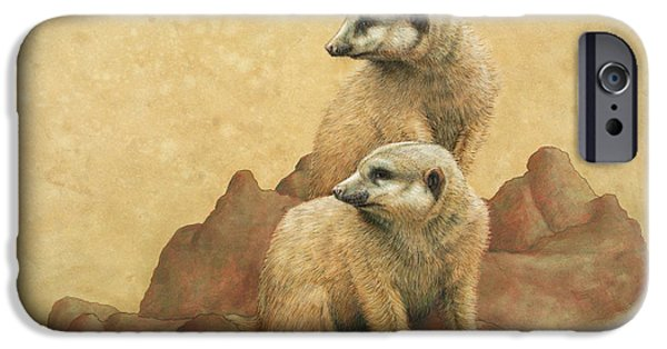 African Animal Drawings iPhone Cases - Lookouts iPhone Case by James W Johnson