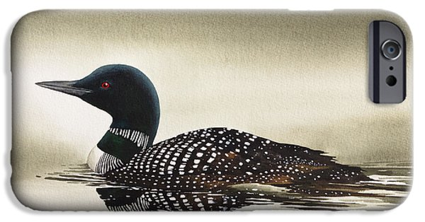 Loon iPhone Cases - Loon in Still Waters iPhone Case by James Williamson
