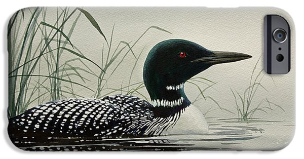 Loon iPhone Cases - Loon Near the Shore iPhone Case by James Williamson