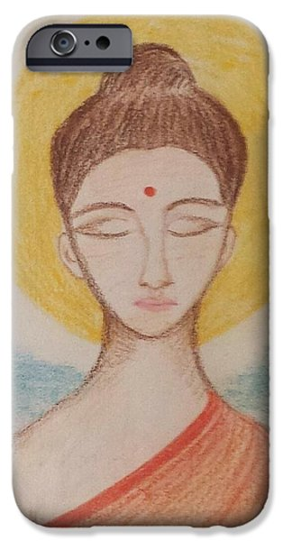 Buddhism Pastels iPhone Cases - Lord Buddha The Peaceful One iPhone Case by Purvi Pathak