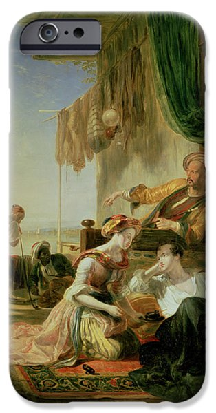 Athens iPhone Cases - Lord Byron Reposing In The House Of A Fisherman Having Swum The Hellespont, 1831 Oil On Canvas iPhone Case by Sir William Allan
