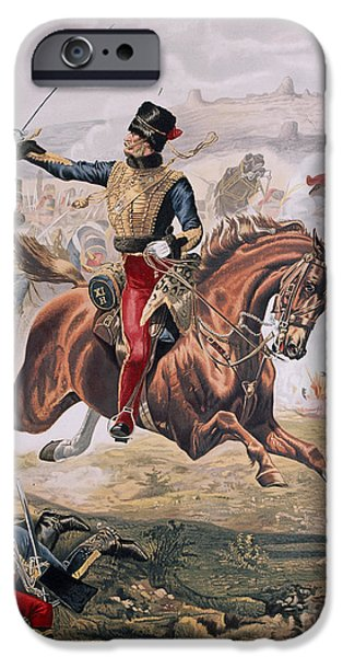 Horse iPhone Cases - Lord Cardigan leading the Charge of the Light Brigade at the Battle of Balaklava iPhone Case by Henry A Payne