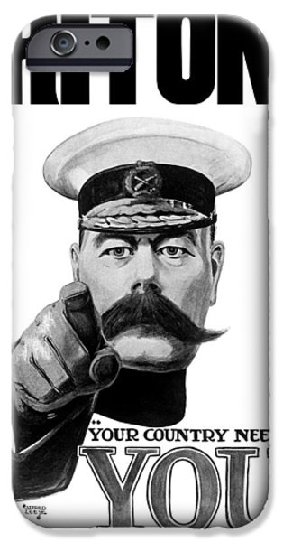 World War One iPhone Cases - Lord Kitchener iPhone Case by War Is Hell Store