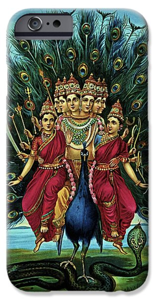 Hindu Goddess Mixed Media iPhone Cases - Lord Murugan iPhone Case by Raja Ravi Varma