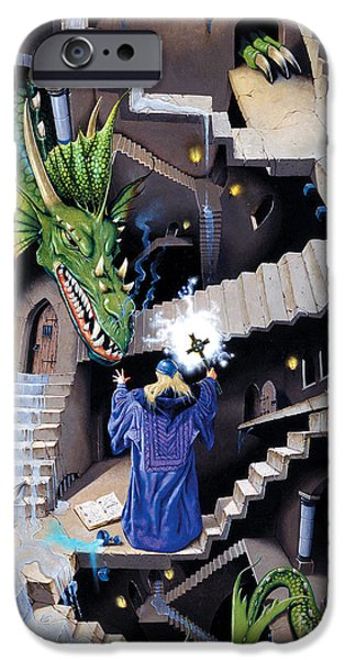 Staircase Paintings iPhone Cases - Lord of the Dragons iPhone Case by Irvine Peacock