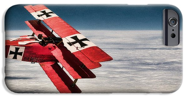 Wwi iPhone Cases - Red Baron Panorama - Lord of the Skies - Lomo Version iPhone Case by Weston Westmoreland