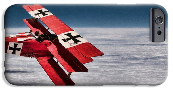 Wwi iPhone Cases - Red Baron Panorama - Lord of the Skies iPhone Case by Weston Westmoreland