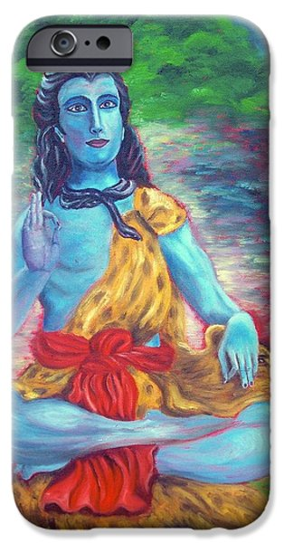 Parvati Paintings iPhone Cases - Lord Shiva iPhone Case by Mila Kronik