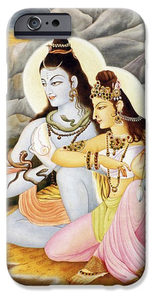 Parvati Paintings iPhone Cases - Lord Shiva Parvati  iPhone Case by Dpa-bdr-30