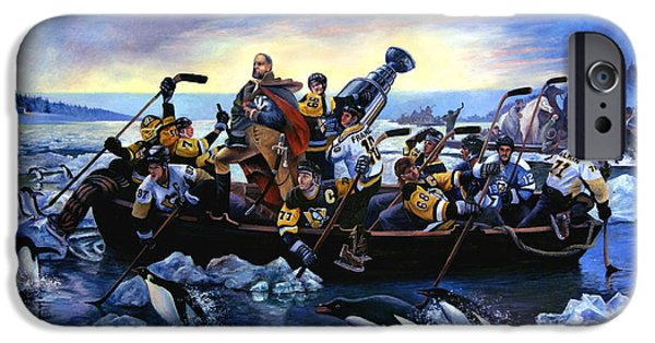 Stanley Cup Paintings iPhone Cases - Lord Stanley and the Penguins Crossing the Allegheny iPhone Case by Frederick Carrow