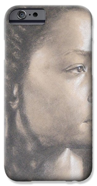 Monotone Drawings iPhone Cases - Lorna iPhone Case by Abby Parker