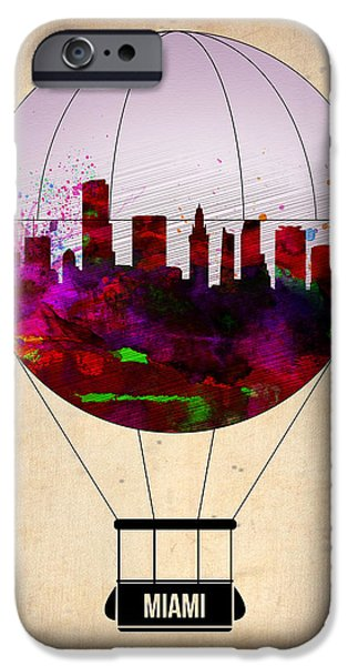 Town iPhone Cases - Miami Air Balloon 1 iPhone Case by Naxart Studio