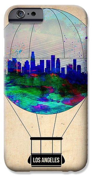 Town iPhone Cases - Los Angeles Air Balloon iPhone Case by Naxart Studio
