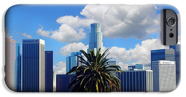Baseball Stadiums iPhone Cases - Los Angeles and Palm Trees iPhone Case by Mariola Bitner