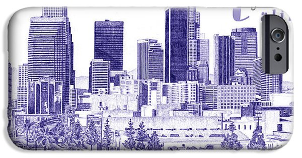 City Scape Drawings iPhone Cases - Los Angeles iPhone Case by Andrew Aagard