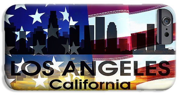 Concrete Jungle iPhone Cases - Los Angeles CA Patriotic Large Cityscape iPhone Case by Angelina Vick