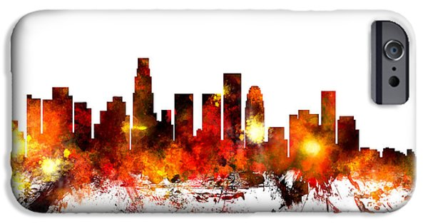 United States iPhone Cases - Los Angeles California Skyline iPhone Case by Michael Tompsett