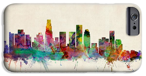 State iPhone Cases - Los Angeles City Skyline iPhone Case by Michael Tompsett