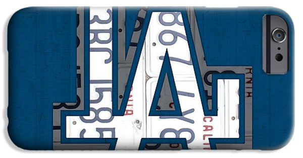 Recycle iPhone Cases - Los Angeles Dodgers Baseball Vintage Logo License Plate Art iPhone Case by Design Turnpike