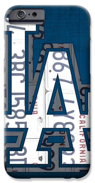 Los Angeles Dodgers Baseball Vintage Logo License Plate Art iPhone Case by Design Turnpike