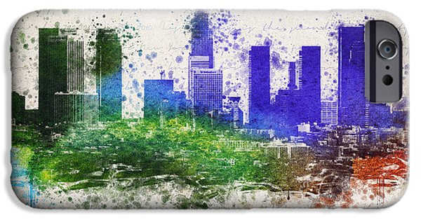 Skylines Mixed Media iPhone Cases - Los Angeles in color  iPhone Case by Aged Pixel