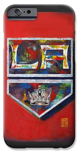 Sport Portraits Mixed Media iPhone Cases - Los Angeles Kings Hockey iPhone Case by Dan Haraga