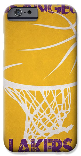 Lakers iPhone Cases - Los Angeles Lakers Hoop iPhone Case by Joe Hamilton
