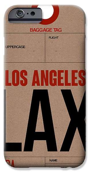Town iPhone Cases - Los Angeles Luggage Poster 1 iPhone Case by Naxart Studio
